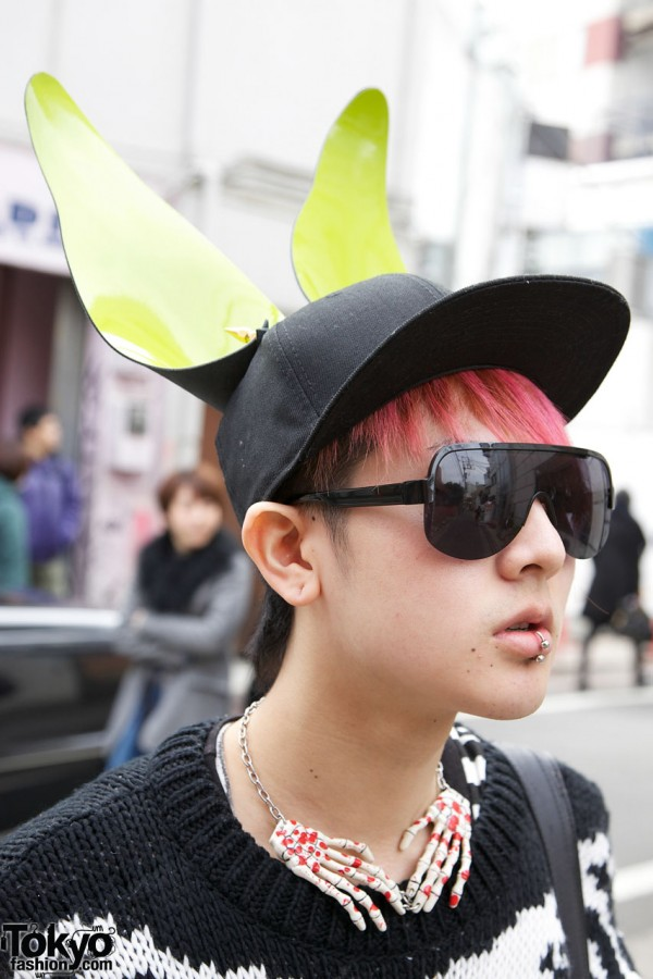 Cap With Ears & Pink Hair in Harajuku