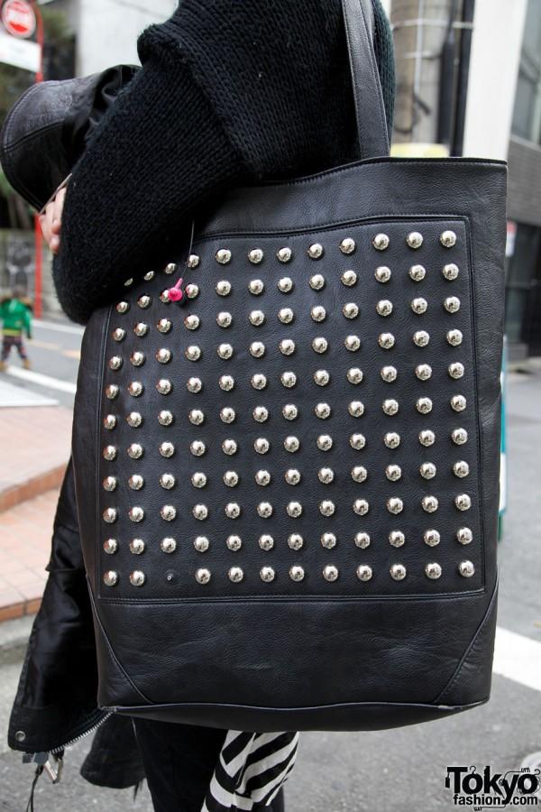 Glad News Studded Leather Bag