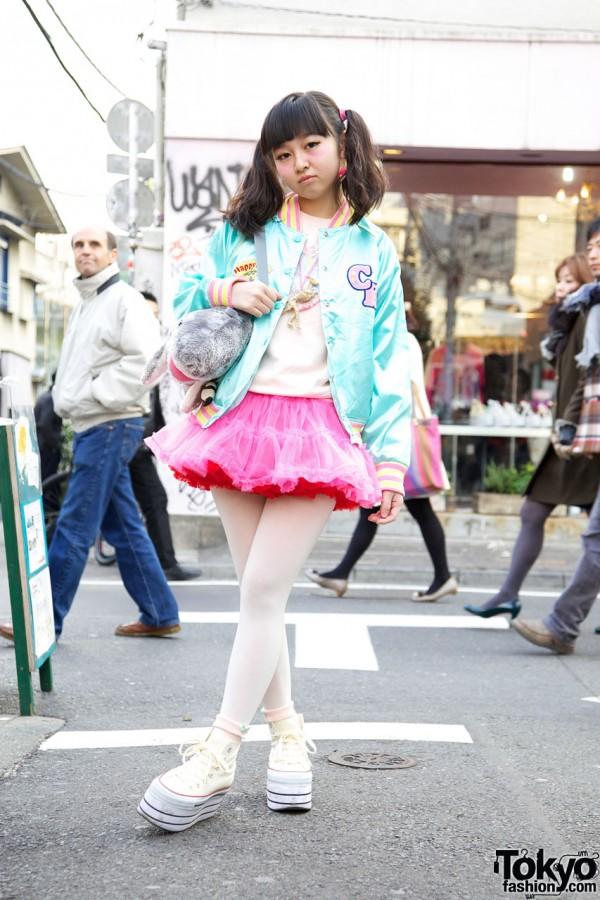 Satin Kinji jacket & pink tutu in Harajuku