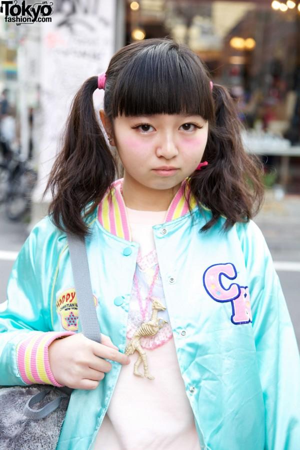 Twin ponytails & Kinji jacket in Harajuku