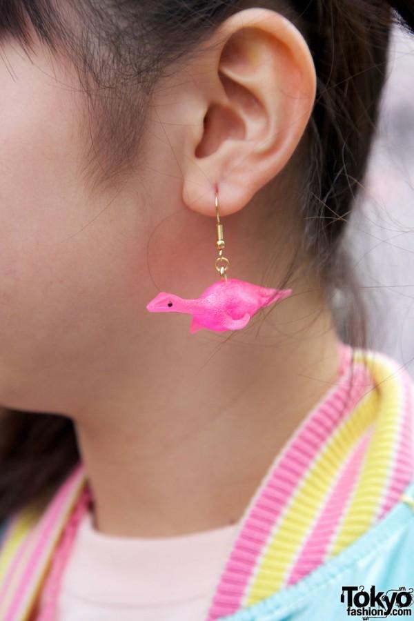 Handmade dinosaur earrings in Harajuku