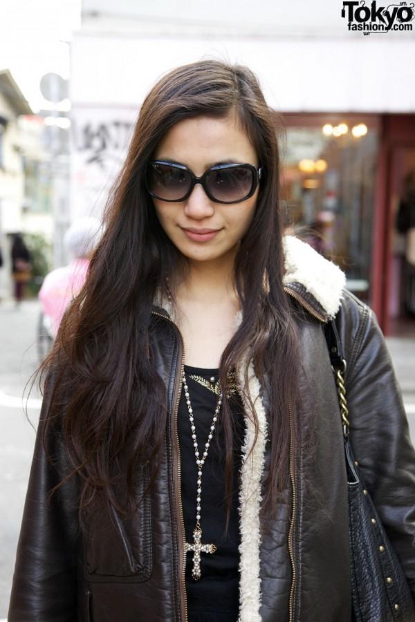 Large sunglasses & Vivienne Westwood jacket in Harajuku