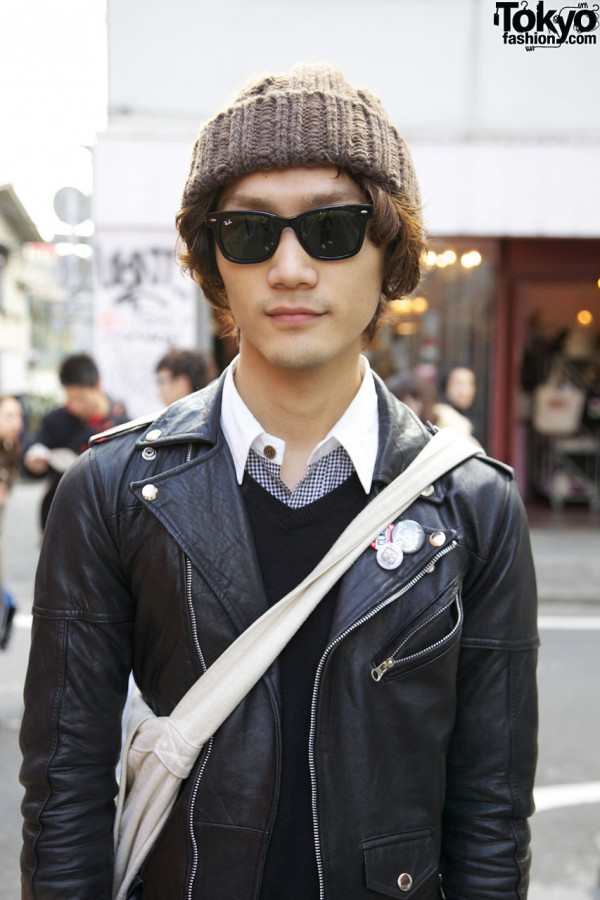 Vintage leather jacket w/ H&M shirt in Harajuku
