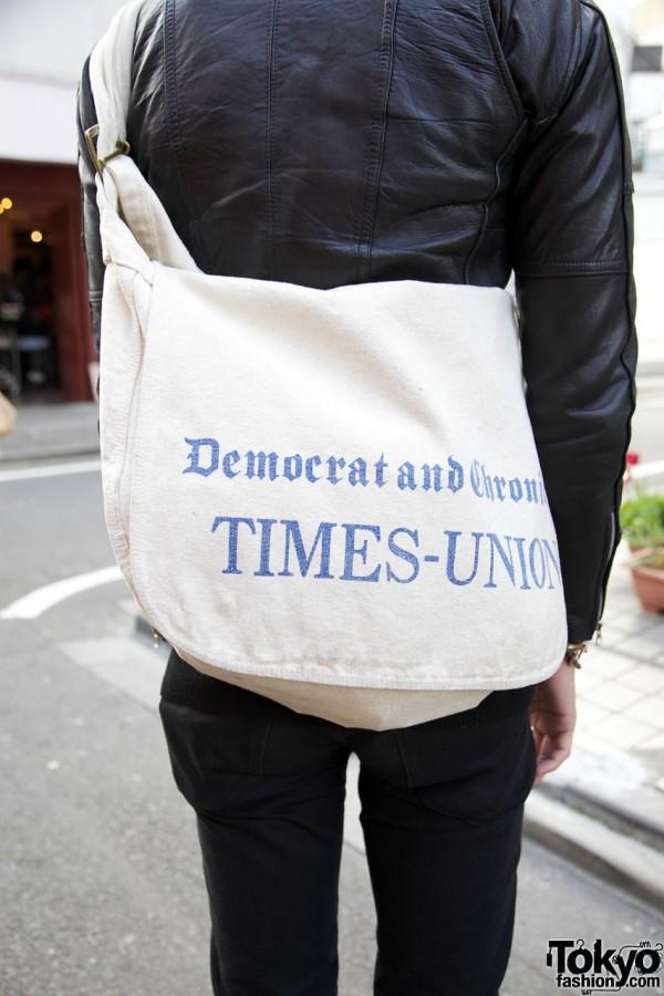 Vintage newpaper bag in Harajuku