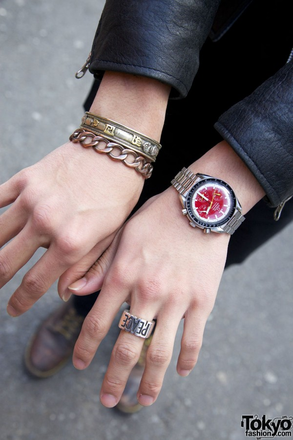 Omega watch & peace ring w/ bracelets in Harajuku