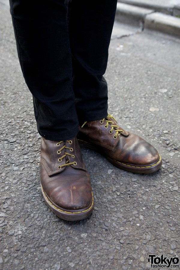 Vintage skinny pants & boots in Harajuku