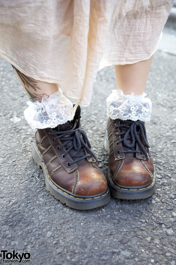 Dr. Martens shoes & lace socks in Harajuku