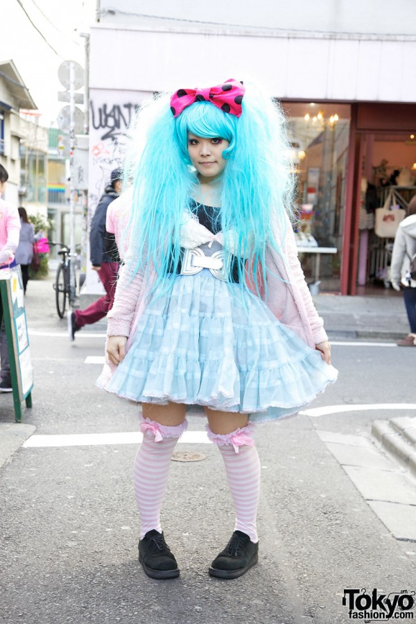 Harajuku Eyelash Designer w/ Big Blue Hair & Vintage Tulle Skirt
