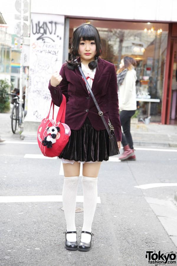 Uniqlo Velveteen Blazer, Kinji Short Skirt & Heart-Shaped Swimmer Handbag