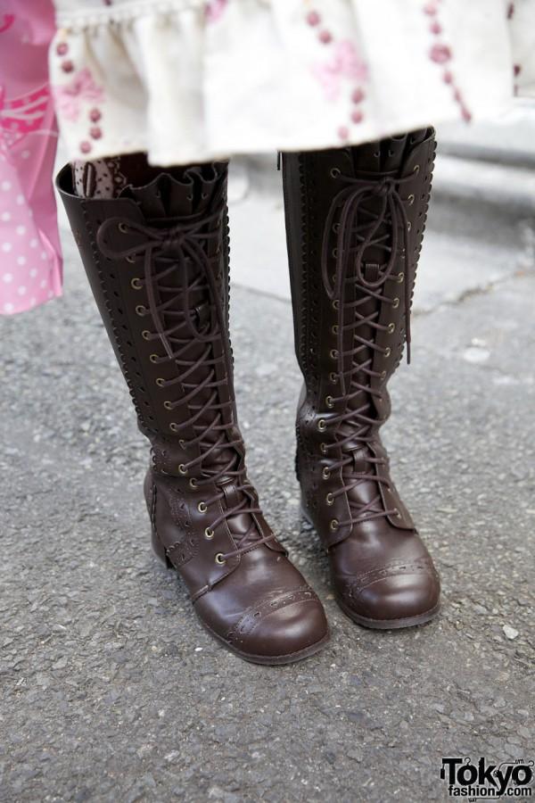 Metamorphose laceup boots in Harajuku