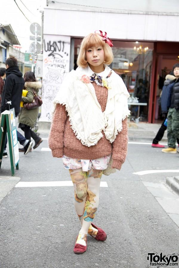 Cute Blonde Girl's Cherub Tights & Pink Suede Moccasins