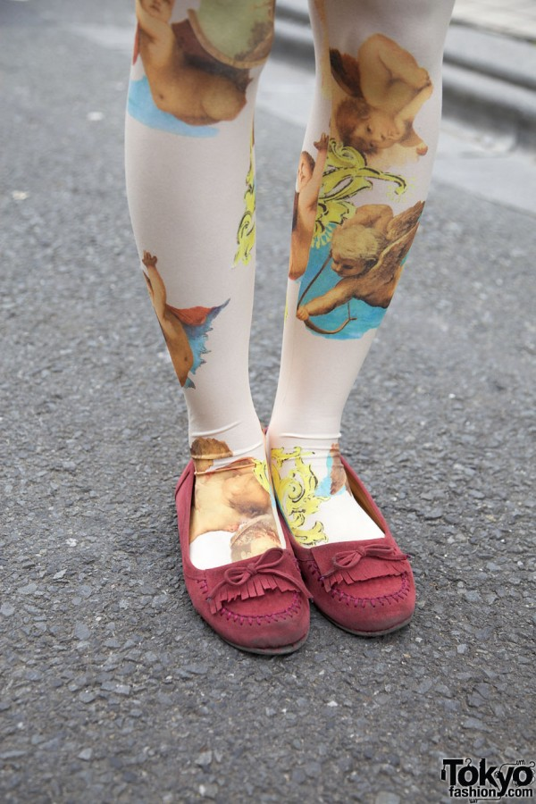 Cherub tights & pink suede moccasins in Harajuku