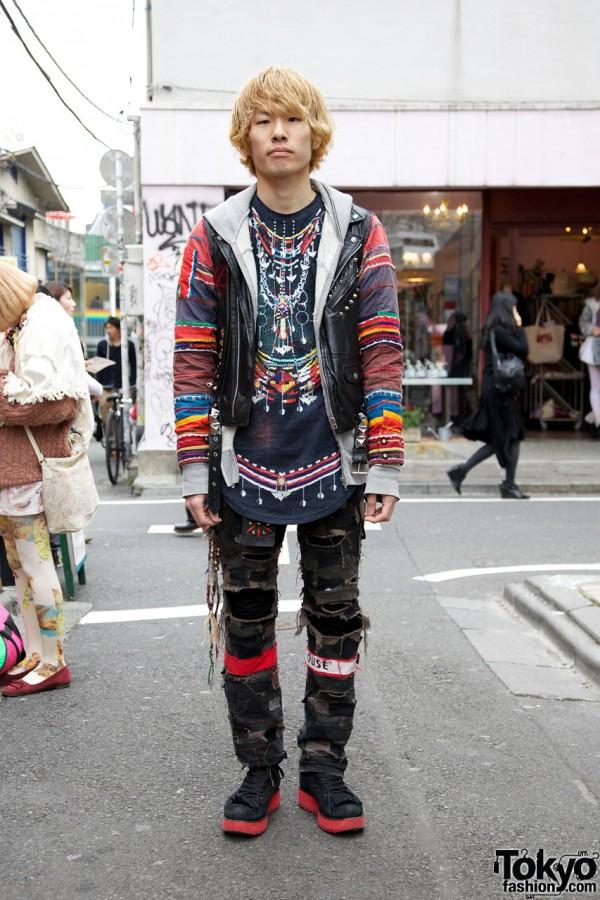 Kamo Ethnic Shirt w/ Leather Vest & Shredded Patchwork Pants