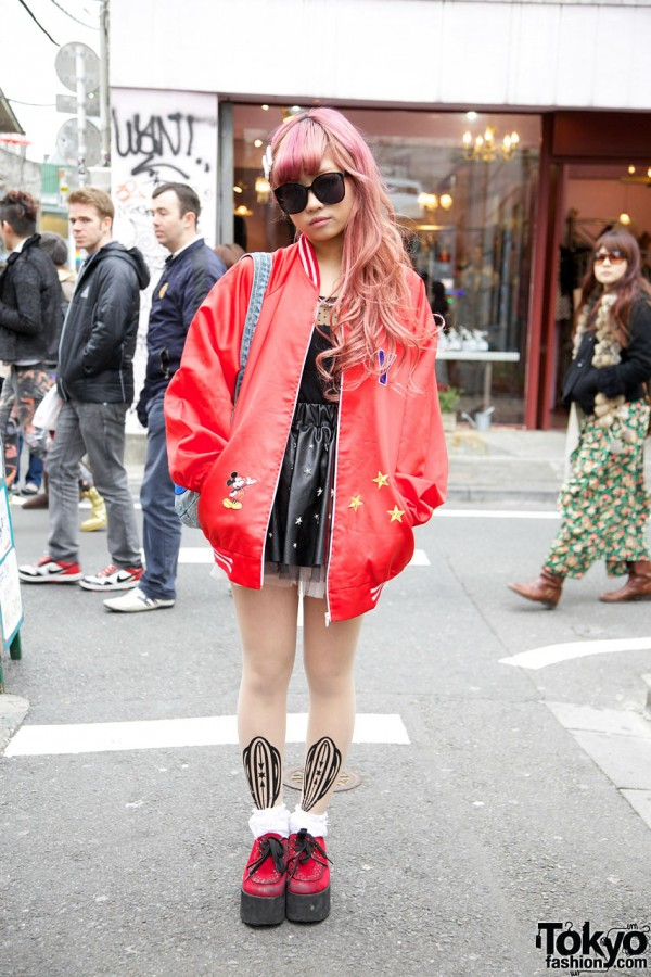You's Oversized Mickey Mouse Jacket in Harajuku