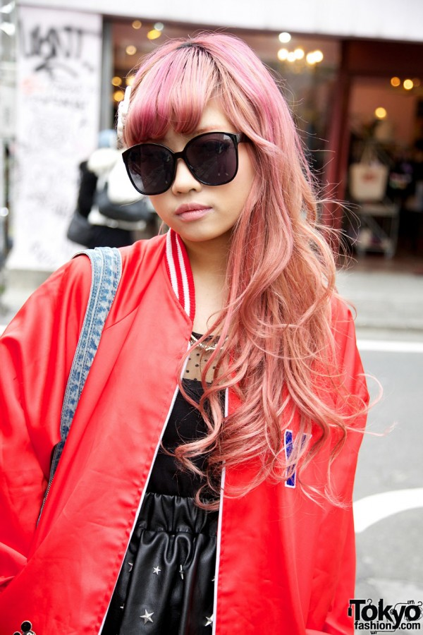 Pink Hair & Sunglasses in Harajuku