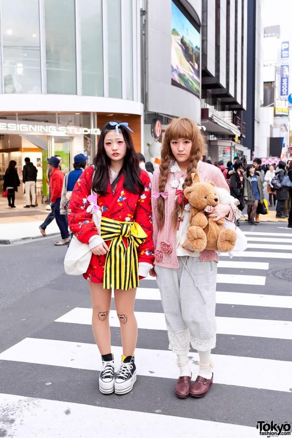 Harajuku Girls' Colorful Fashion & Cute Teddy Bears