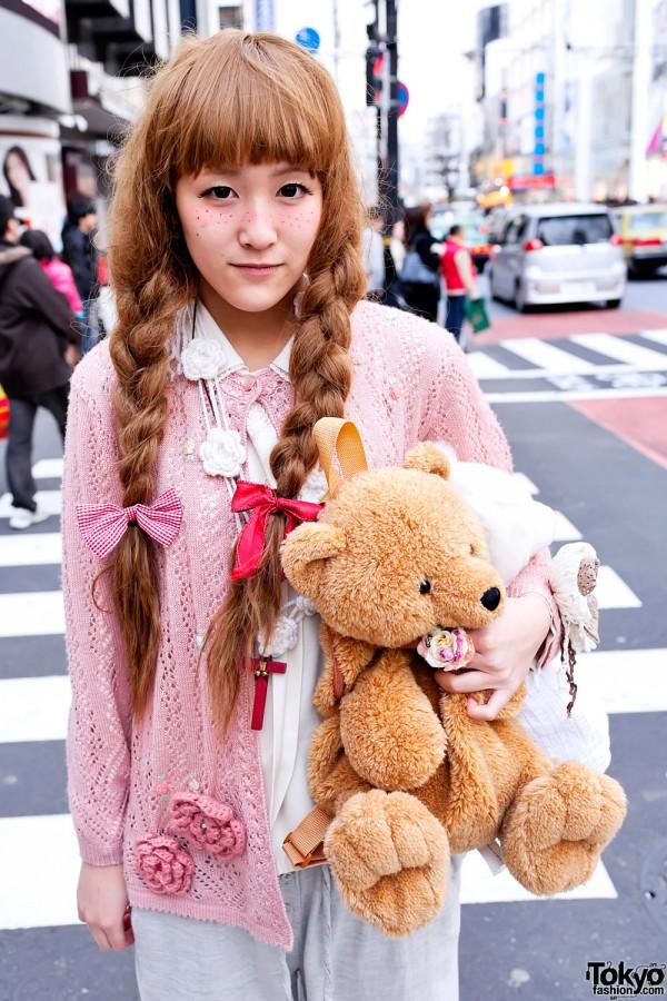 Harajuku Girl's Braids & Teddy Bear