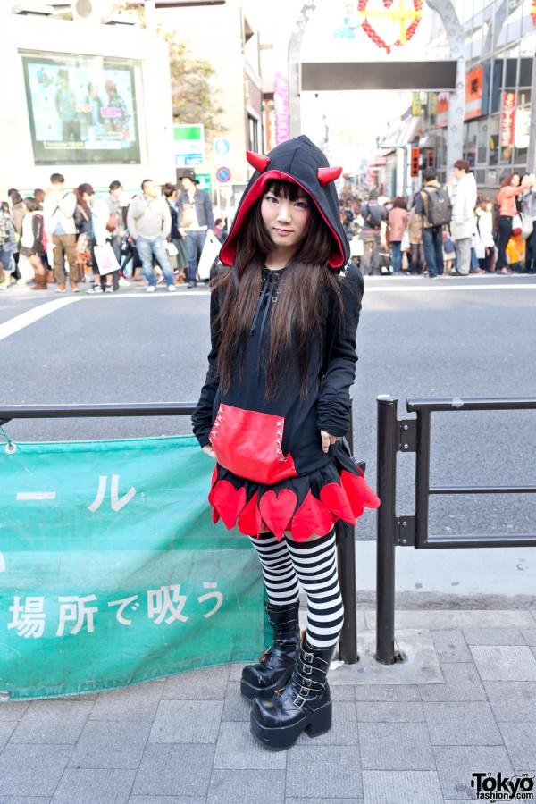 Devil Hoodie, Striped Socks & Platform Boots in Harajuku