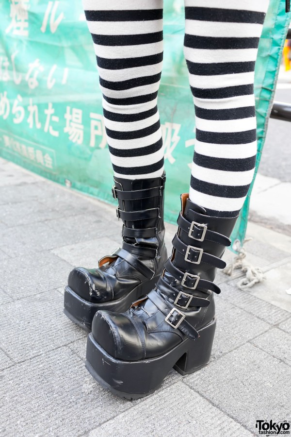 Striped Socks & Platform Buckle Boots