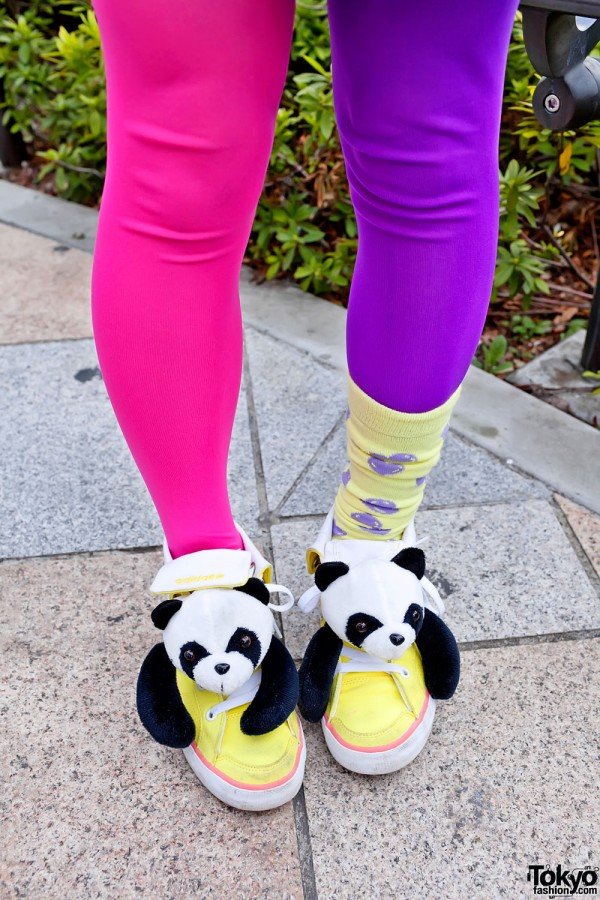 Colored Tights & Panda Sneakers
