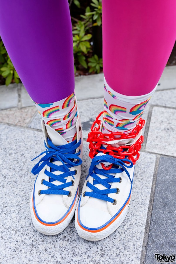 Rainbow Socks & Sneakers in Harajuku