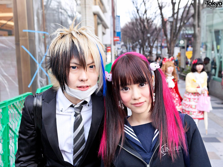 harajuku high school students with colorful hair