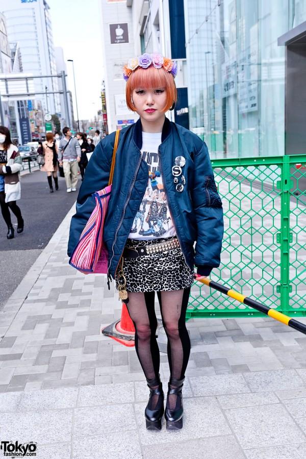 Punk Harajuku Girl w/ Piercings, Gauged Ears & Pretty Flowers