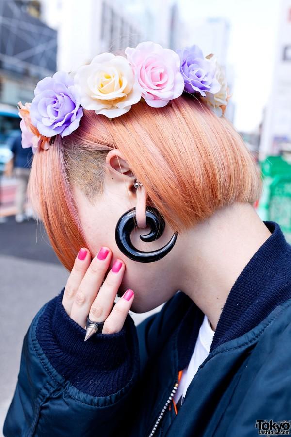 Punk Harajuku Girl W Piercings Gauged Ears Amp Pretty Flowers