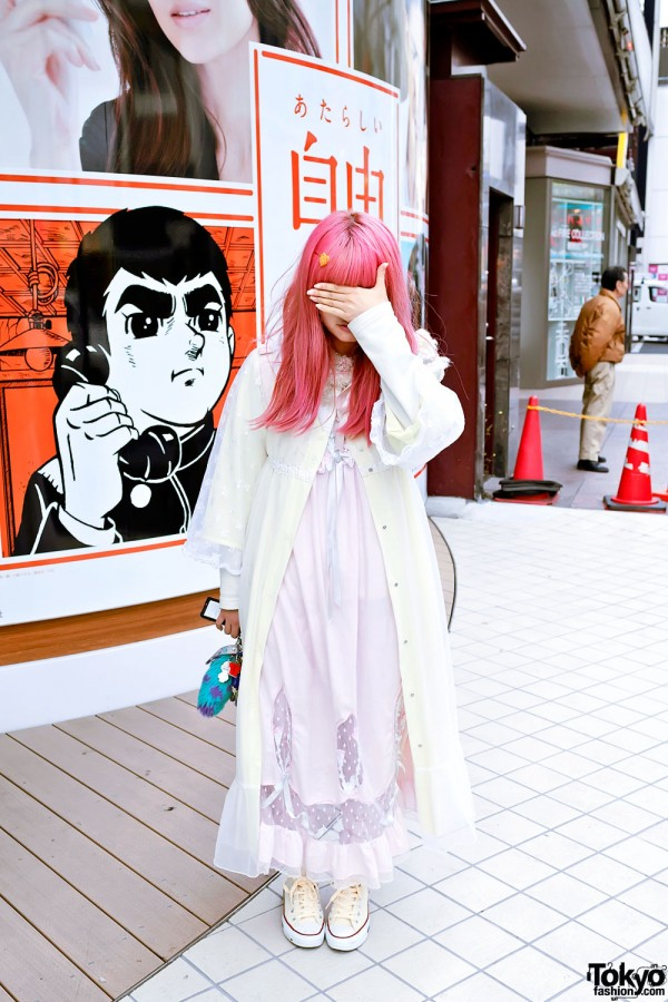 Harajuku Girl in Pink Negligee