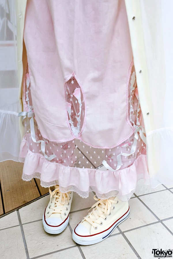 Pink Negligee & Converse High Top Sneakers