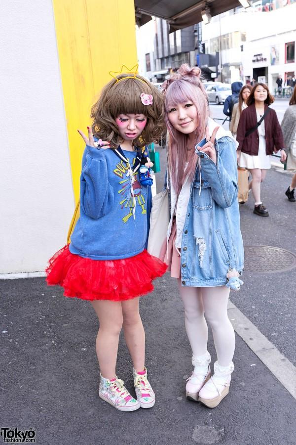 Harajuku Girls w/ Tulle Skirt, Colorful Makeup, Minnie & SpongeBob