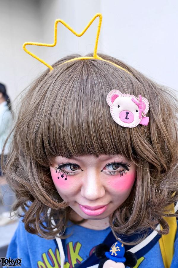 Cute Crown & Bear Hairclip in Harajuku