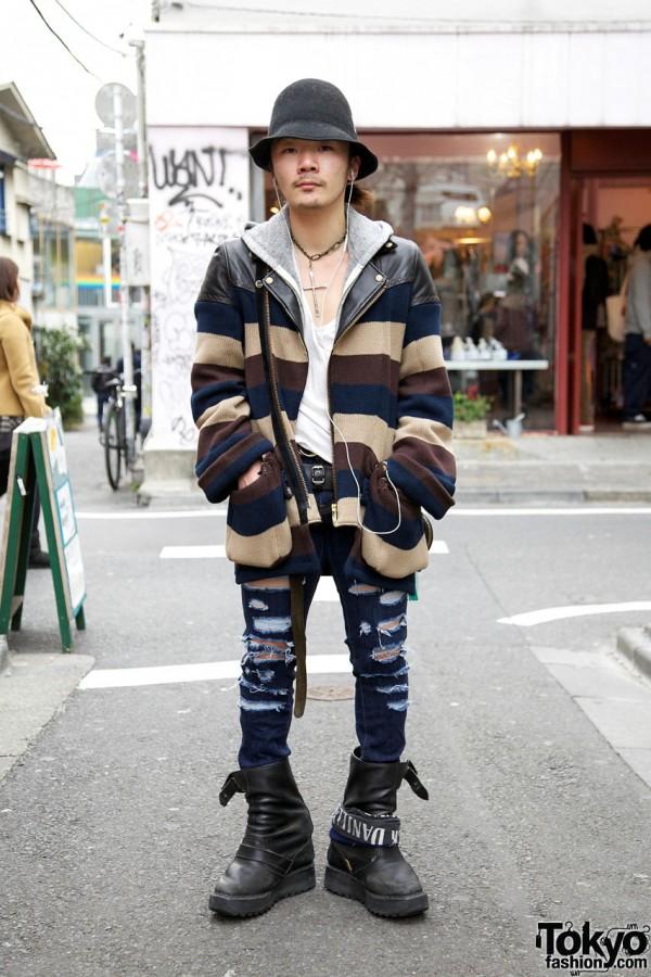 Li Lium's Blackmeans Sweater, BCB Hat & Dr. Denim Shredded Jeans