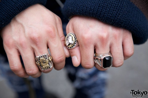 Silver signet rings in Harajuku