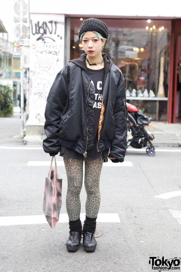 Nadia Yui in Oversized Bomber Jacket
