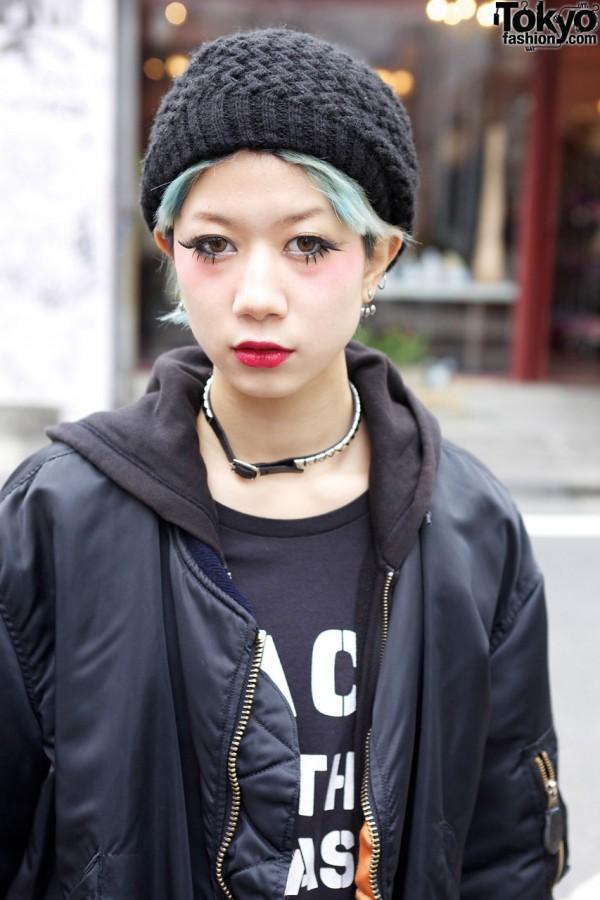 Green Hair, Choker & Harajuku Makeup