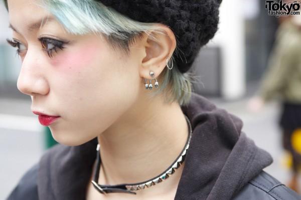 Green Hair & Skull Earrings in Harajuku