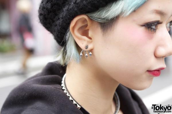 Skull Earrings & Green Hair
