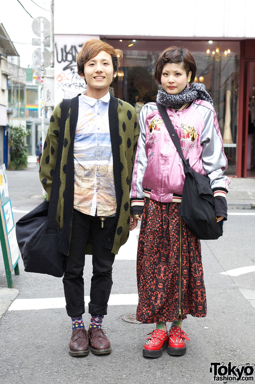 Poka dot cardigan & RNA maxi skirt in Harajuku