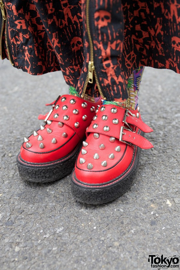 Candy Stripper spiked platform shoes in Harajuku