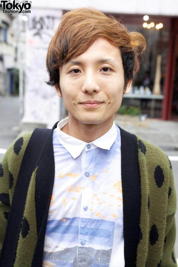 Dapper shirt & used cardigan in Harajuku
