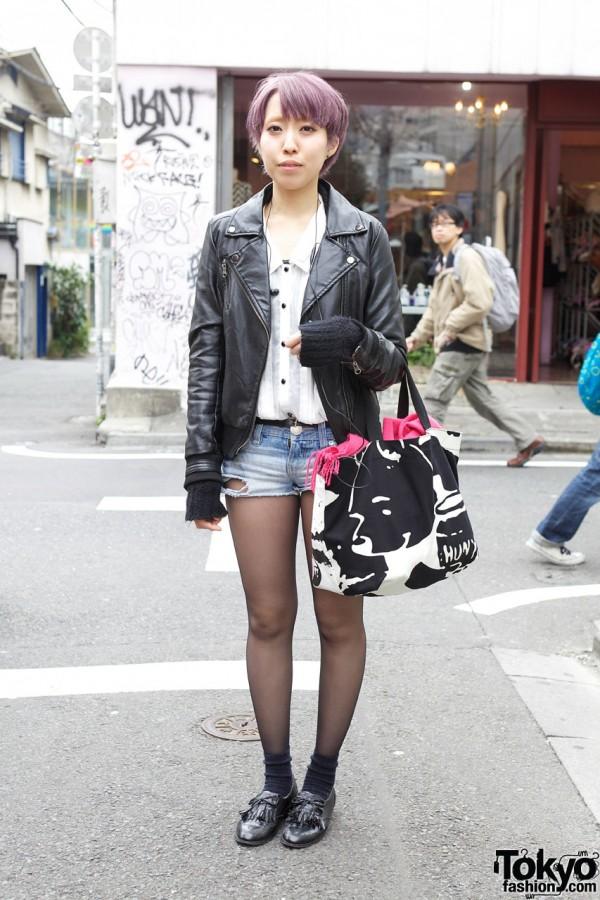 Leather Jacket, Short Shorts & Lavender Hair in Harajuku