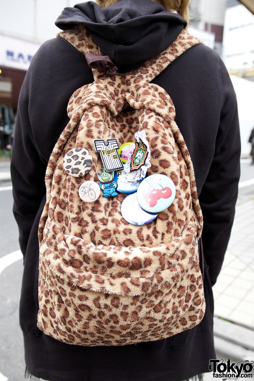 leopard print backpack w   buttons  u0026 patches  u2013 tokyo fashion news