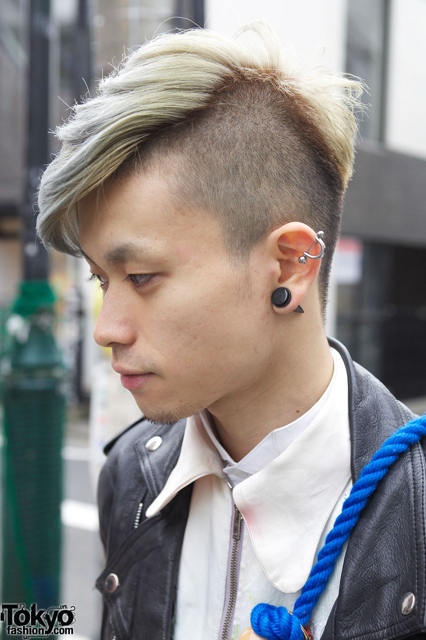 Shaved Amp Long Hair W Ear Stud And Silver Earring Tokyo