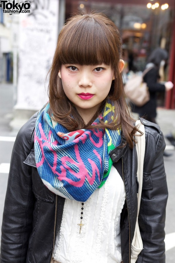 Leather jacket & colorful scarf in Harajuku