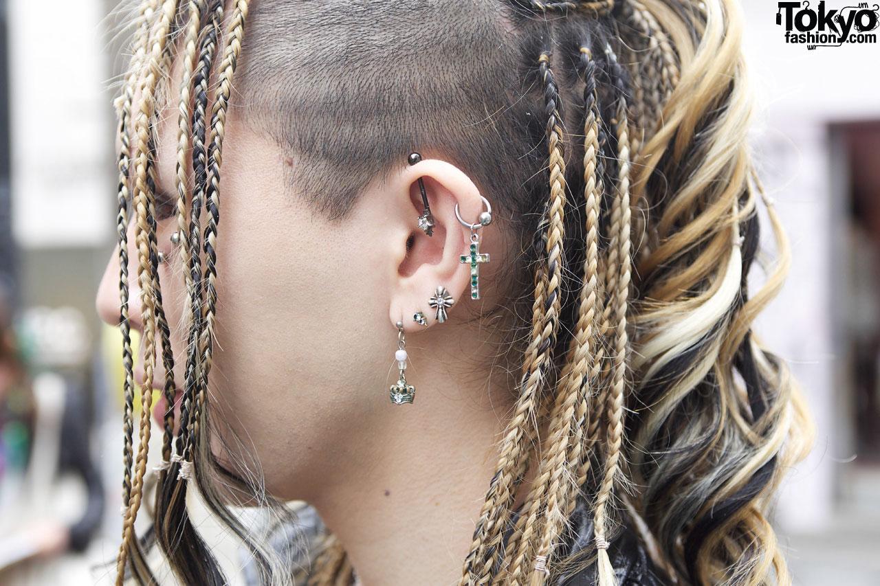 Multiple Earrings & Long Braids In Harajuku