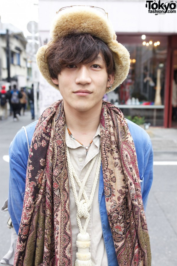 Denim coat & paisley scarf from Haight & Ashby resale