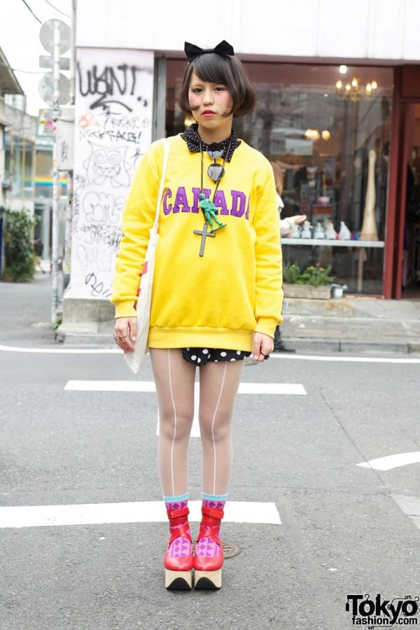 Yellow Canada Sweater in Harajuku