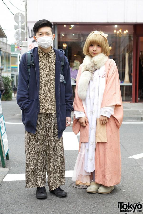 Guy's leopard pajamas & girl's pink kimono