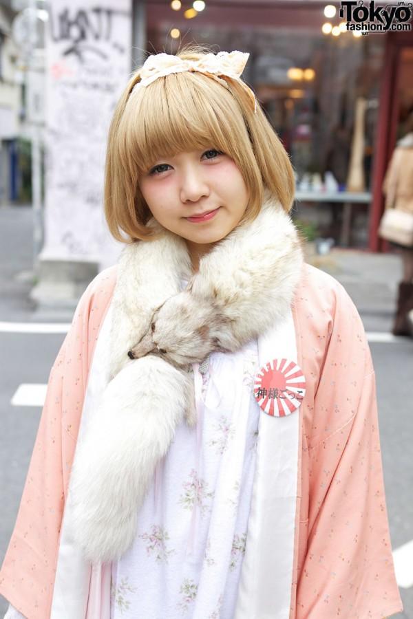 White fox stole in Harajuku